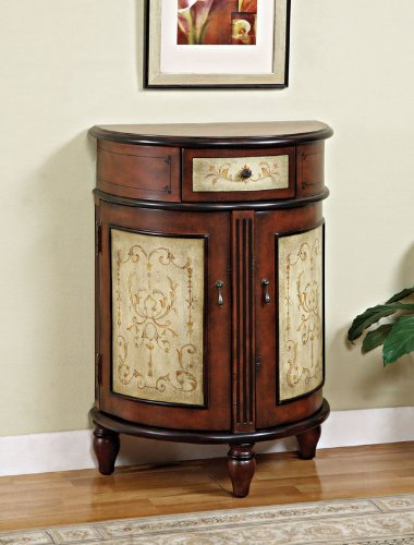 Cheap Crescent Accent Bombe Chest with Floral Hand Painted Details in Cherry Finish