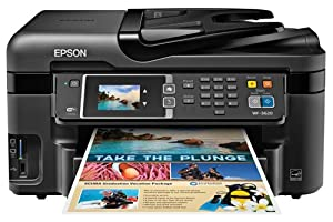 Epson WorkForce WF-3620 Wireless and WiFi Direct All-in-One Color Inkjet Printer, Copier, Scanner, 2-Sided Auto Duplex, ADF, Fax. Prints from Tablet/Smartphone. AirPrint Compatible. (C11CD19201) by Epson