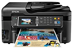 Epson WorkForce WF-3620 Wireless and WiFi Direct All-in-One Color Inkjet Printer, Copier, Scanner, 2-Sided Auto Duplex, ADF, Fax. Prints from Tablet/Smartphone. AirPrint Compatible. (C11CD19201)