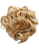 HAIR EXTENSIONS CURLY OR MESSY DRAWSTRING UPDO FULL BUN ADD BODY (BLONDE MIX bc27t613)