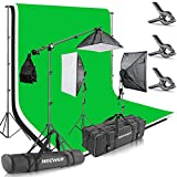 Neewer® 8.5x10ft/2.6x3M Background Support System with Three 6x 9ft/1.8x2.8M Backdrop+2400W 5500K 20