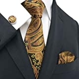 (18651 ゴールド ブラック,ペーズリー)高級な紳士のシルクのネクタイ Landisun :ネクタイ+カフスボタン+ハンカチ 3点セット