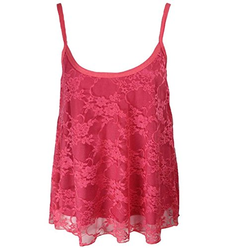 The Home of Fashion New Womens Coral Floral Lace Strappy Camisole Swing Tank Cami Vest Top (XL (16-18))