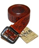 Ralph Lauren Double RL RRL Mens Vintage Western Tooled Leather Belt Brown