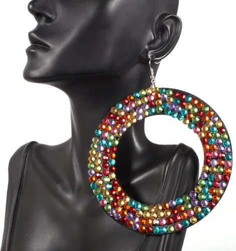 Basketball Wives Earrings Multicolored Oval Style 3.75 Inch Drop with Rhinestones Mob POParazzi