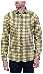 PRIknit Men's Casual Shirt (AF-S3-YG, Yellow, 38)