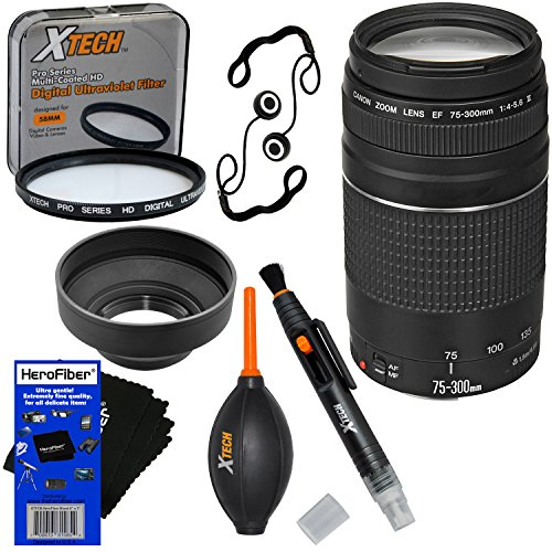 Canon EF 75-300mm f/4-5.6 III Telephoto Zoom Lens for Canon SLR Cameras (International Version) + 7pc Bundle Accessory Kit w/ HeroFiber Ultra Gentle Cleaning Cloth (Canon Rebel Hood compare prices)