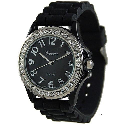 Geneva Platinum Women's 6886.Black Black Silicone Quartz Watch with Black Dial (Watch Geneva Platinum compare prices)