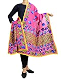 GiftPiper Chanderi Hand Embroidered Dupatta-Pink