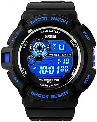 Takyae 2016 Military LED Digital Quartz Watch Water Resistant Sport Watches Multifunctional - Blue
