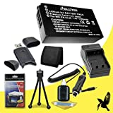 Two Halcyon 1200 mAH Lithium Ion Replacement Battery and Charger Kit 8GB SDHC Class 10 Memory Card for Sony Cyber-shot DSC-W710 16.1 MP Digital Camera and Sony NP-BN1