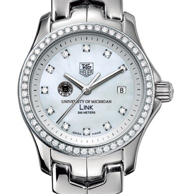 University of Michigan TAG Heuer Watch - Women's Link with Diamond Bezel