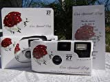 Photography - 10 Pack Red and White Rose Bouquet Wedding Disposable 35mm Cameras In Matching Gift Boxes- 27 Exposures Each- With Matching Table Tents