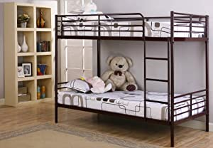 Red Mahogany Finish Metal Twin Size Bunk Bed by 2K Designs