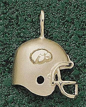 Iowa Hawkeyes Hawk Helmet Pendant - 14KT Gold Jewelry by Logo Art