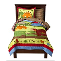 Bright Colored Dinosaurs Boys Twin Comforter Set (5 Piece Bed In A Bag)