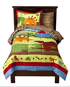 bright colored dinosaurs boys twin comforter