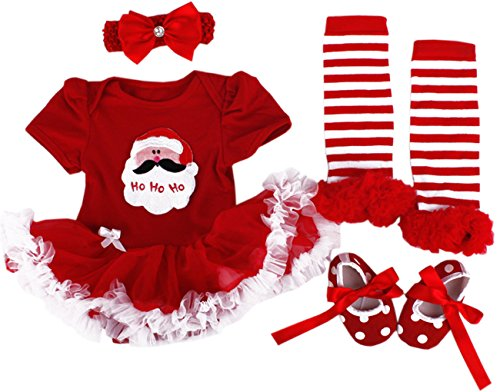 TANZKY® Baby Girls Christmas Costume Infant Santa Princess TuTu Dress (4pcs)