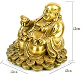 Brass Buddha Statue -- 13cm High Happy Laughing Sitting Buddha Inspirational Religious Simle Statue For Gifts & Decor --SMABBS065