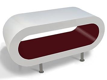 Blanco y Burdeos Brillo Puesto de Café Aro de Mesa / TV en Varios Tamaños