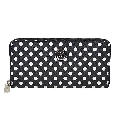 Michael Kors Jet Set Travel Dotted Zip-Around Continental Wallet Blk/Wht