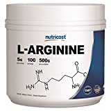Nutricost L-Arginine (500 Grams) - Pure L-Arginine Powder - 5000mg Per Serving; 100 Servings