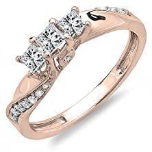 buy 0.50 Carat (Ctw) 10K Rose Gold Princess & Round Diamond 3 Stone Engagement Ring 1/2 Ct (Size 7)