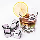 Yukiss® Reusable Stainless Steel Ice Frozen Cubes - Set of 8 Premium Chilling Cubes, Excellent for White Wine or Juice or Soda. Includes Tongs and Plastic Storage Box.
