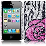 IPHONE 4 / IPHONE 4G ROSE FLOWER DESIGN DIAMANTE BACK COVER CASE PART OF THE QUBITS ACCESSORIES RANGEby Qubits
