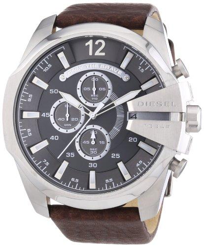 Diesel Mega Chief Chronograph Grey Dial Brown Leather Mens Watch Dz4290