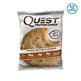 Quest Nutrition Peanut Butter Protein Cookie, High Protein, Low Carb, Gluten Free, Soy Free, 12 Count