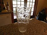 BRILLIANT CUT CRYSTAL VASE FANS ETCHED FLOWERS SCALLOPED SAWTOOTH RIM