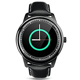 Megadream® Bluetooth 4.0 HD IPS Screen Smart Watch with Pedometer/Voice Control/Anti-lost/Step Recording/Sleep Monitoring/ Self-timer/Sedentariness Reminder-Black