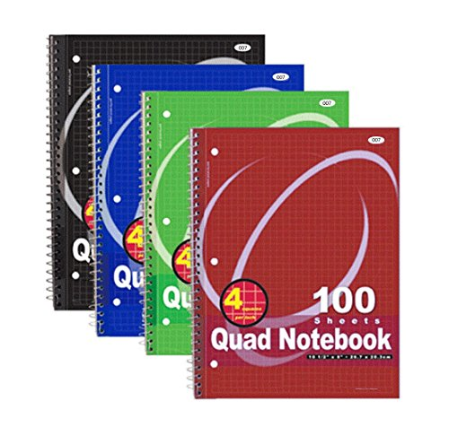 RamPro Quad-ruled Spiral Notebook 10-1/2 X 8 Inches, Assorted Colors, 100 Count (007) (Spiral Quad Ruled compare prices)