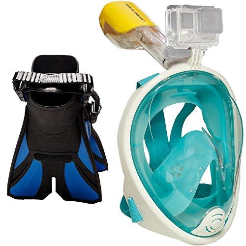 Ocean View Snorkel Set: Full Face Snorkeling Mask + Adjustable Diving Fins