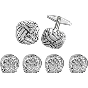 Woven Cubicle Shaped Rhodium Cufflinks Stud Set