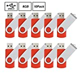 10pcs 8gb Usb Flash Drive Usb 2.0 Flash Drive Memory Stick Fold Storage Thumb Stick Pen Swivel Design Red