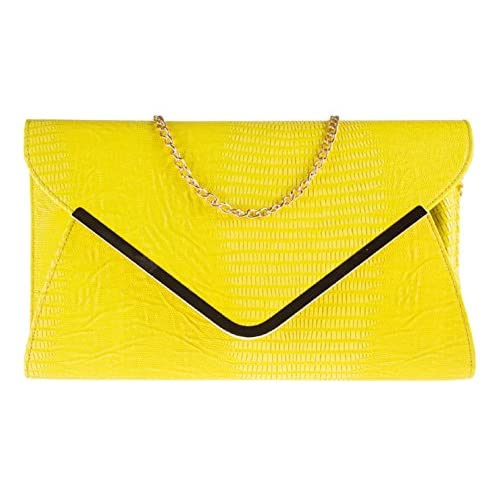 New Animal Print Flat Envelope Evening Clutch Bag Ladies Mock Croc Snakeskin Faux Leather Accessorize-me 2859c...