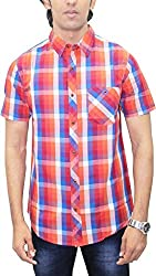AA' Southbay Men's Multi Orange & Blue Checks 100% Premium Cotton Half Sleeve Casual Shirt