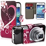 32nd® Design book wallet PU leather case cover for Samsung Galaxy S4 Zoom C1010 camera phone, including screen protector and cleaning cloth - Love Heart