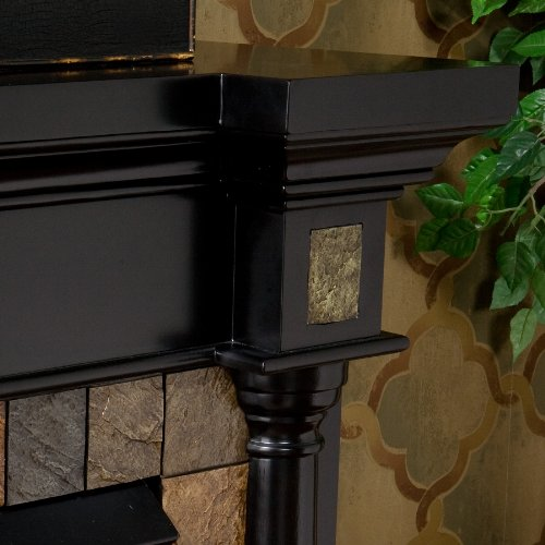 SEI Carrington Convertible Gel Fuel Fireplace, Slate/ Black