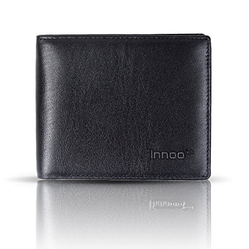 Innoo Tech RFID Monedero de Hombre Cartera para Hombre Protección de Informaciones privadas Monedero de Tarjeta de Crédito, Dinero y Carnet ID Monedero Cuero Auténtico Color Negro