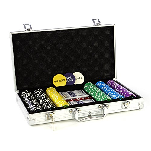 Pokerkoffer 300 Pokerchips Pokerset mit Laser Chips Pokerkarten abschließbarer Koffer
