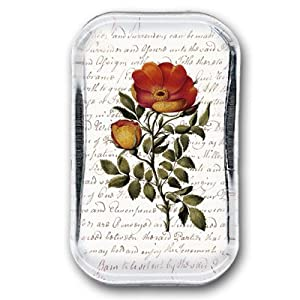 """Vintage Rose - Rectangle Glass Paperweight (2-1/2"""" x 4"""" x 1"""")"""