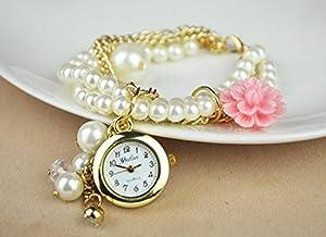 Women Ladies Flower Beads Bohemia Trend Gold Chain Bracelet Quartz Jewelry Watch Pink