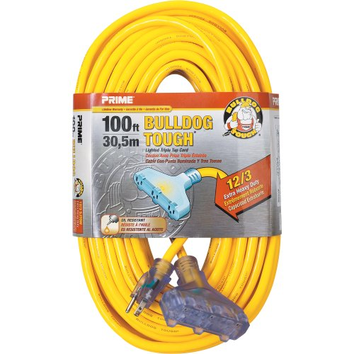 Prime Wire & Cable Lt611835 100-Foot 12/3 Sjtow Bulldog Tough Heavy Duty Triple-Tap Extension Cord With Prime Light Indicator Light, Yellow
