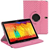 Stuff4 Diamond Designed Leather Smart Case with 360 Degree Rotating Swivel Action and Free Screen Protector/Stylus Touch Pen for 10.1 inch Samsung Galaxy Note - Baby Pink