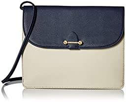 Isaac Mizrahi Designer Handbags: Leather Tatiana Convertible Clutch / Crossbody - Navy / Stone (See More Colors)