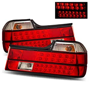 BMW 735i 1988-1992 LED Tail Lights Red Clear (Fits: Base Sedan 4-Door)