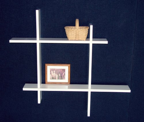 Floating Wall Shelf Unit - 2 Level - White Finish (White) (34.25